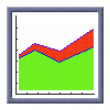 Cubes pixel image of growing area chart icon — Stock Photo