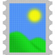 Cubes pixel color image of postage stamp — Stock Photo