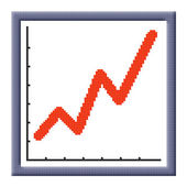 Cubes pixel image of growing business graph icon — Stock Photo