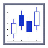 Cubes pixel image of growing japanese candles chart — Stock Photo