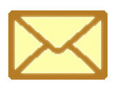 Cubes pixel image of closed yellow mail envelope — Stock Photo