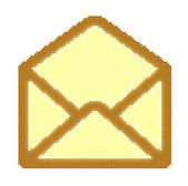Imagem de pixel de cubos do envelope de correio amarelo aberto — Foto Stock