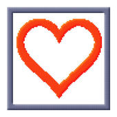Cubes pixel image of heart in gray frame — Stock Photo