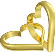 Couple of chained golden hearts — Stock Photo #18367257