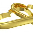 Couple of lying chained golden hearts diagonal view — Stock Photo