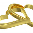 Couple of chained golden hearts diagonal view — Stock Photo