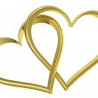 Couple of chained golden hearts front view — Stock Photo