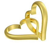 Couple of chained golden hearts — Stock Photo