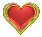 Golden heart pendant with red middle — Stock Photo