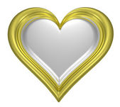 Golden heart pendant with silver middle — Stock Photo