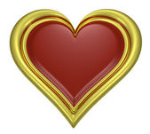 Golden heart pendant with dark-red middle — Stock Photo