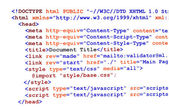 HTML source code on white front view — Stock Photo