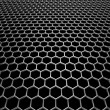 Stock Photo: Steel grid with hexagonal holes in perspective view
