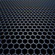 Stock Photo: Blue steel grid with hexagonal holes in perspective view