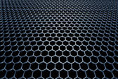 Blue steel grid with hexagonal holes in perspective view — Stock Photo