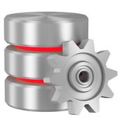 Database icon with red elements and cogwheel — Stock Photo