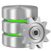 Database icon with green elements and cogwheel — Stock Photo