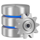 Database icon with blue elements and cogwheel — Stock Photo