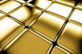 Golden cubes flooring diagonal view — Stock Photo