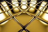 Zlaté kostky podlahy diagonální perspektivní zobrazení — Stock fotografie