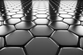 Steel hexagons flooring perspective view — Stock Photo