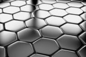 Steel hexagons flooring diagonal view — Stock Photo