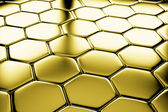 Golden hexagons flooring diagonal view — Stock Photo