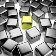 Golden cube in the crowd of scattered steel cubes — Stock Photo #25406321