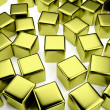 Golden cube in the crowd of scattered cubes — Stock Photo