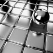 Different steel ball standing out in crowd of cubes — Stock Photo #25406489