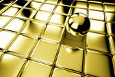 Different gold ball standing out in crowd of cubes — Stock Photo