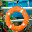 Red life buoy in the Water Park — Stock Photo