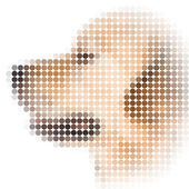 Round pixel image of dog with white vignette — Stock Photo