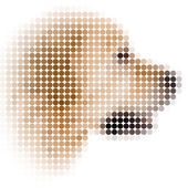 Circle pixels image of dog with white vignette — Stock Photo