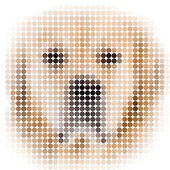 Circle pixels image of a dog with white vignette — Stock Photo