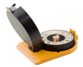 Plastic tourist compass with ruler — Stock Photo