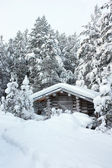 Small wooden blockhouse in the snow — Stock Photo