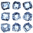 Blue clear ice cubes collection — Stock Photo
