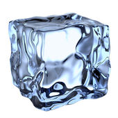 One blue clear ice cube — Stock Photo