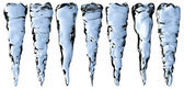 Blue clear icicles set — Stock Photo