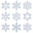 Blue snowy decorative snowflakes set — Stock Photo