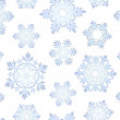 Blue icy snowflakes set seamless background — Stock Photo