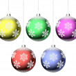 Foto Stock: Christmas balls with snowflakes set