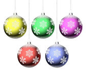 Christmas balls with snowflakes set — Stock Photo