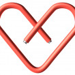 Red paper-clip heart — Stock Photo