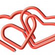 Red paperclips heart couple — Stock Photo