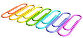 Colored paperclips diagonal perspective row — Stock Photo