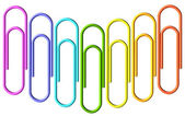Colored paperclips wave set — Stock fotografie