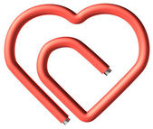 Red paperclip heart — Stock Photo