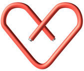 Red paper-clip heart — Foto Stock
